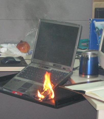 laptop burnt