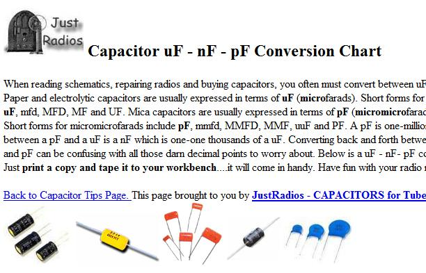 Capacitor Conversion Chart Electronics Repair And Technology News