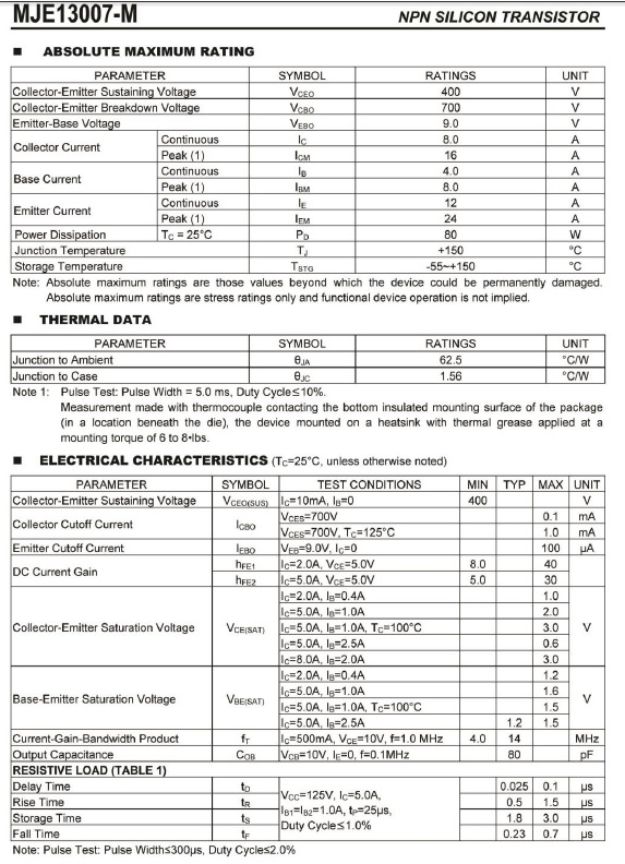 mje13007 transistor datasheet