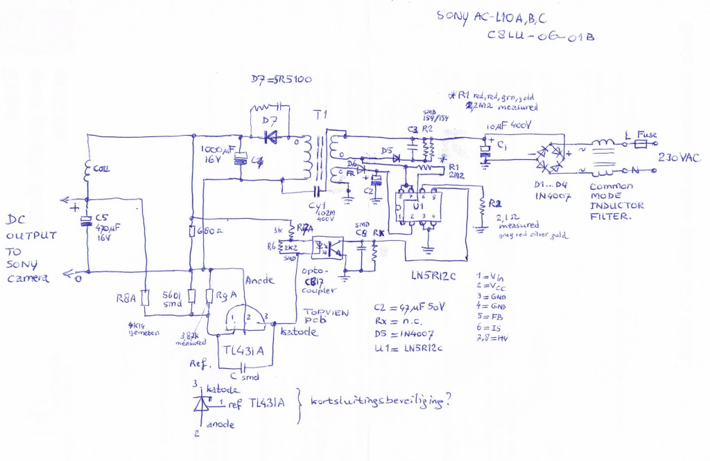 sony power adapter schematic