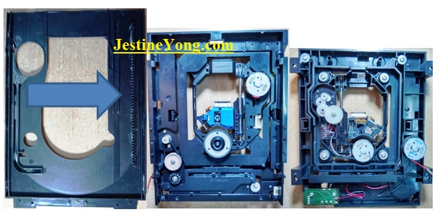 bottom side of dvd player assembly