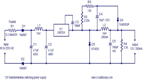 transformerless switch mode power supply